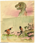 Original Comic Art:Sketches, Frank Frazetta - Original Sketch of Two Cavemen and a Dinosaur (undated). The mist clears, and two primitive men get a glimp...