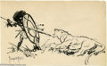 "Original Comic Art:Sketches, Frank Frazetta - Original Sketch, ""Lion Hunt"" (Undated). Frazetta delivers the goods in this quick study of an African hunte..."