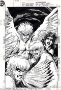Original Comic Art:Splash Pages, Chris Sprouse and George Perez - Original Pin-Up Art for War of theGods #2 (DC, 1992). Four harpies screech and gnash their...