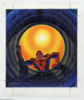 Original Comic Art:Sketches, Ken Steacy - Original Spider-Man Illustration (1996). Spider-Man poses for a moment, as he checks out what's below, in the i...