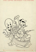 Original Comic Art:Covers, Tony Strobl (attributed) - Original Art for Donald Duck #200 (GoldKey, 1978). Fisherman Donald Duck is occupied while an un...