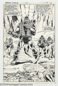 Original Comic Art:Splash Pages, Herb Trimpe and Mike Esposito - Original Art for Marvel Team-Up#110, page 12. Magma puts the pedal to the molten metal to t...