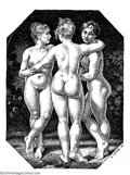 "Original Comic Art:Splash Pages, Robert Crumb - Original Pin Up Art for Art & Beauty, ""The ThreeGraces"" (Fantagraphics, 1995). Bob really loves the babes! W..."