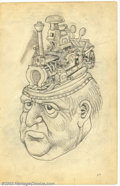 """Original Comic Art:Sketches, Robert Crumb - Original Art Sketches, """"Steamhead"""" (undated). Awonderful full page sketch of a man, with a bit of a """"Raymond..."""