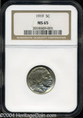 Buffalo Nickels: , 1919 MS65 NGC. ...