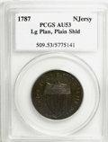 1787 COPPER New Jersey Copper, Large Planchet, Plain Shield AU53 PCGS. PCGS Population (7/12). NGC Census: (0/0). (#509)...