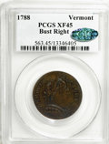 1788 COPPER Vermont Copper, Bust Right XF45 PCGS. CAC. PCGS Population (10/9). NGC Census: (0/0). (#563)...(PCGS# 563)