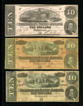 Confederate Notes:1862 Issues, Three Confederate $10s.. ... (Total: 3 notes)