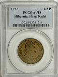 Colonials, 1722 1/2P Hibernia Halfpenny, Type Two, Harp Right AU58 PCGS....