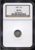 Three Cent Silver: , 1859 3CS MS64 NGC. Shimmering, lightly velvety example ...