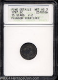 Early Half Dimes: , 1797 H10C 15 Stars--Plugged, Scratched--ANACS. Fine Details,...