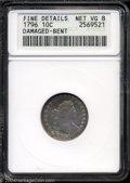 Early Dimes: , 1796 10C --Damaged, Bent--ANACS. Fine Details, Net VG8. JR-...