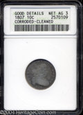 Early Dimes: , 1807 10C --Corroded, Cleaned--ANACS. Good Details, Net AG3.
