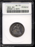 Seated Quarters: , 1853 25C Arrows and Rays AU53 ANACS. A pleasing example, ...