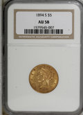 Liberty Half Eagles: , 1894-S $5 AU58 NGC. NGC Census: (44/22). PCGS Population (10/12).Mintage: 55,900. Numismedia Wsl. Price for NGC/PCGS coin ...