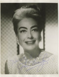 "Movie/TV Memorabilia:Autographs and Signed Items, Joan Crawford Signed Photo. An b&w 8"" x 10"" photo inscribed and signed by Crawford in blue ink. In Excellent condition. Ac..."