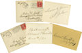 Music Memorabilia:Autographs and Signed Items, Al Jolson and Howard Thurston Signed Cards. Includes a smallnotecard with a secretarial version of Al Jolson's signature i...