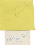 Movie/TV Memorabilia:Autographs and Signed Items, Orson Welles and Peter Lawford Autographs. An autograph album page signed by Welles in black ink, plus a small card signed b...