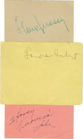 Movie/TV Memorabilia:Autographs and Signed Items, Veronica Lake, Lenore Aubert, and Ilona Massey Autographs. Set of autograph album pages signed by Lake in blue ink, Massey i...