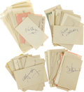 Movie/TV Memorabilia:Autographs and Signed Items, Large Collection of Vintage Celebrity Autographs. A set of approximately six dozen notecards, autograph album pages, and sli...