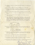 Movie/TV Memorabilia:Autographs and Signed Items, Clifton Webb Signed Contract. A single-page agreement, undated,stipulating pay, marquee credits, and other perquisites for ...(Total: 1 Item)