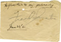 Music Memorabilia:Autographs and Signed Items, Frank Sinatra Autograph. A piece of paper signed by Sinatra inpencil, circa 1941. Very Fine condition with moderate tanning...