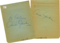 Movie/TV Memorabilia:Autographs and Signed Items, Ava Gardner Autographs. A pair of autograph album pages signed byGardner in blue ink, respectively. In Fine to Very Fine co...