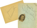 Movie/TV Memorabilia:Autographs and Signed Items, Lupe Velez and Johnny Weissmuller Autographs. A pair of autographalbum pages signed by actors Weissmuller and Velez (former...