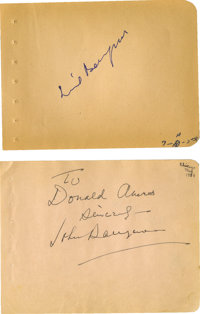 John and Lionel Barrymore Autographs. A pair of autograph album pages signed by the actor brothers in black and blue ink...