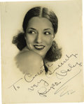 "Movie/TV Memorabilia:Autographs and Signed Items, Lupe Velez Signed Photo. A b&w 8"" x 10"" photo inscribed andsigned by the actress in black ink. In Fine to Very Fine conditi..."