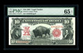 Large Size:Legal Tender Notes, Fr. 115 $10 1901 Legal Tender PMG Gem Uncirculated 65 EPQ. Abrightly colored Bison with pronounced originality of the embos...