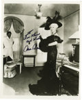 "Movie/TV Memorabilia:Autographs and Signed Items, Mae West Signed Photo. A dazzling b&w 8"" x 10"" photo of theinfamous sex symbol, inscribed and signed by her in black felt t..."