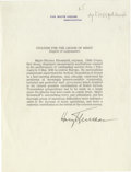 "Autographs:U.S. Presidents, Harry S. Truman Document Signed ""Harry Truman"", one page, 8""x 10.25"", Washington, D.C., circa 1946. Typed on White Hous..."