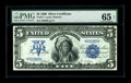 Large Size:Silver Certificates, Fr. 271 $5 1899 Silver Certificate PMG Gem Uncirculated 65 EPQ. The original embossing is easily viewed through the third pa...