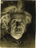 """Autographs:Inventors, Albert Einstein Silver Print by Lotte Jacobi, 6.5"""" x 9"""". Glossyhigh contrast photograph of Einstein wearing a leather jacke..."""