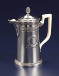 Silver Holloware, French:Holloware, A French Silver and Silver Gilt Chocolate Pot. Unidentified maker,French. Nineteenth Century. Silver, silver gilt, ivory...
