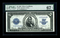Large Size:Silver Certificates, Fr. 282 $5 1923 Silver Certificate PMG Superb Gem Unc 67 EPQ. Deeporiginal embossing is easily seen on this hugely margined...