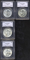 Eisenhower Dollars: , 1972-S $1 Silver MS66 PCGS, lustrous with just small ... (4 coins)