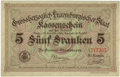 Luxembourg, Luxembourg: Kassenschein 5 Francs L. 1914-1918,...