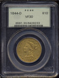 Liberty Eagles: , 1844-O $10 VF30 PCGS. Even, matte golden color and ...