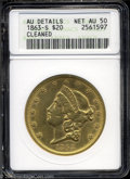 1863-S $20 AU50 ANACS. A reasonably attractive specimen with cleaning evident surrounding the devices. Light rub is visi...