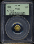 California Fractional Gold: , 1865 50C Liberty Round 50 Cents, BG-1005, Low R.5, MS62 ...