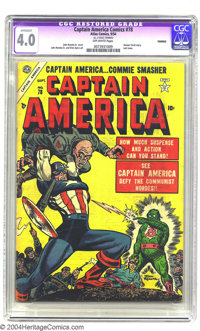 Captain America Comics #78 (Timely, 1954) CGC Apparent VG 4.0 Off-white pages. Last issue; Human Torch story. John Romit...