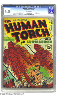 The Human Torch 2 (#1) (Timely, 1940) CGC FN 6.0 Off-white pages. First issue. Intro and origin Toro; Sub-Mariner story...