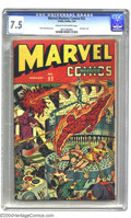Golden Age (1938-1955):Superhero, Marvel Mystery Comics #52 (Timely, 1944) CGC VF- 7.5 Cream to off-white pages. Alex Schomburg bondage cover. Ranks third in ...