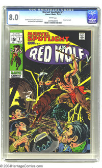 Marvel Spotlight #1 (Marvel, 1971) CGC VF 8.0 White pages. Origin of Red Wolf. Syd Shores and Wally Wood art. Overstreet...
