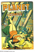 Golden Age (1938-1955):Science Fiction, Planet Comics #53 (Fiction House, 1948) Condition: VG-. Matt Baker, George Evans art. Bondage cover. Used in Seduction of ...