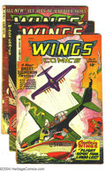 Golden Age (1938-1955):War, Wings Comics Group (Fiction House, 1941) Condition: Average GD+.Issues #111 (last Jane Martin, art by George Evans), 112 (f...(Total: 3 Comic Books Item)