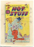 Original Comic Art:Miscellaneous, Color Guide for Hot Stuff #133 Cover (Harvey, 1970s). This is theactual hand-tinted (crayon) color guide to Hot Stuff #...