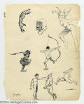 Original Comic Art:Sketches, Frank Frazetta - Original Art Sketch Page, 7 Figures and Head Study (undated). Eight very finished sketches of six figures, ...